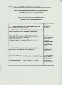 Notice of conclusion of the audit and right to inspect the Annual Return